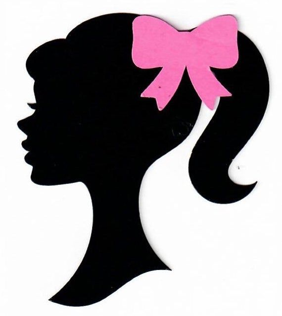 Barbie birthday party  3 inch die-cut cut out Pink bow silhouette 1959 Set of 24