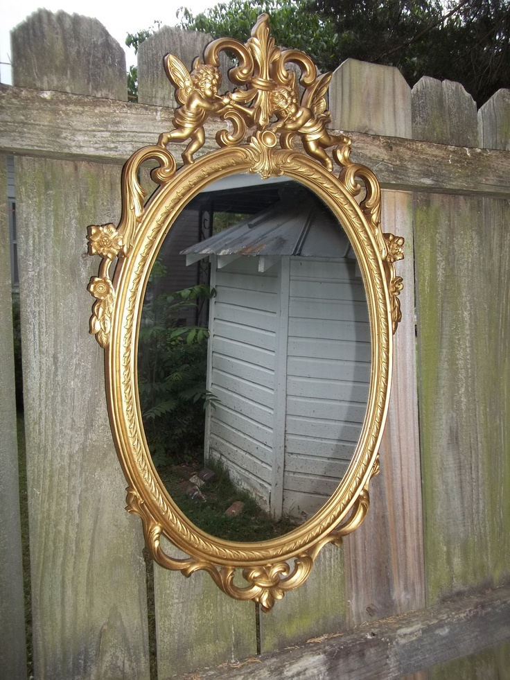 Vintage Gold Ornate Cherub Mirror 30 X 17 97 99 Via