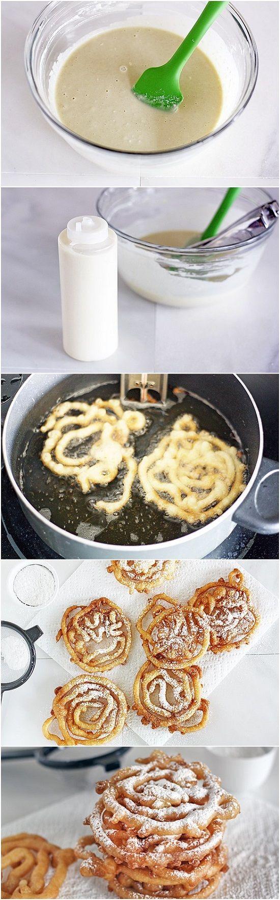 best funnel cakes images on pinterest desert recipes dessert