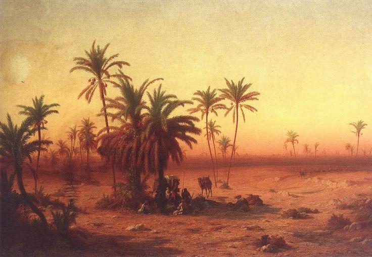 Oasis dans le désert de Antal Ligeti (1823-1890, Romania)