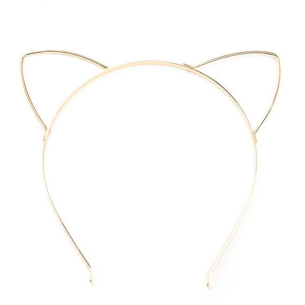 Feline Fine Cat Ear Headband (19 BRL) ❤ liked on Polyvore featuring accessories, hair accessories, metal, cat ears headband, metal headbands, metal cat ears headband, hair band headband and head wrap headbands