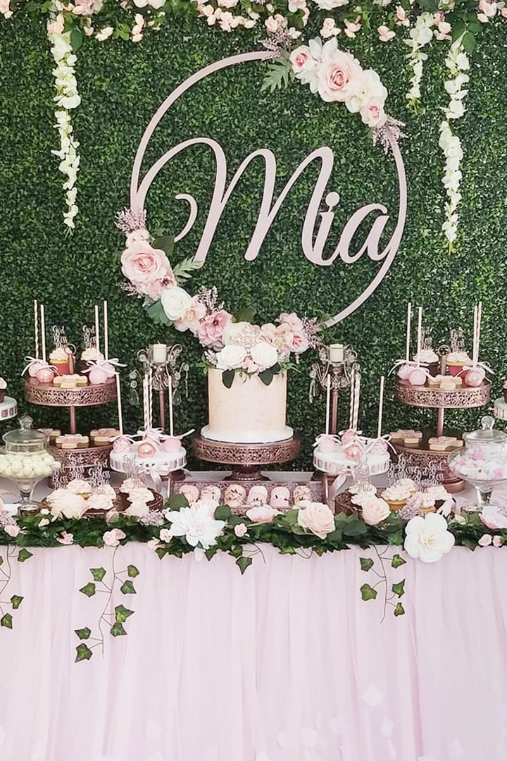 Pink and Green Dessert Table styled by Bizzie Bee Creations | Rose gold cake sta…