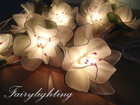 String Lights - 20 White Lotus With Pollen Flower Fairy String Lights Hanging Wedding Gift Party Patio,Bedroom fairy lights,Home Decor