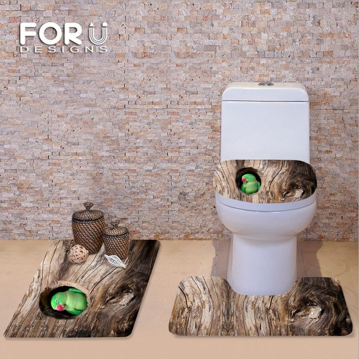 Brown Soft Flannel 3 Piece Bathroom Set Bath Contour Rug Carpet Toilet  Cover Antique Wood Tree Annual Door Mat Free Shipping #Affiliate |  Pinterest ...