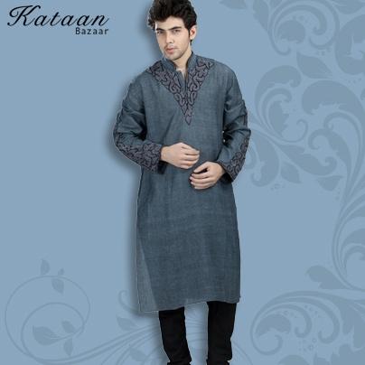 Dark Grey Cotton Khadi Kurta with Churidar
