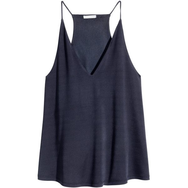 H&M V-neck top (253.130 IDR) ❤ liked on Polyvore featuring tops, shirts, tank tops, blusas, dark blue, h&m shirts, jersey tank top, flare shirts, racer back tank and vneck shirts