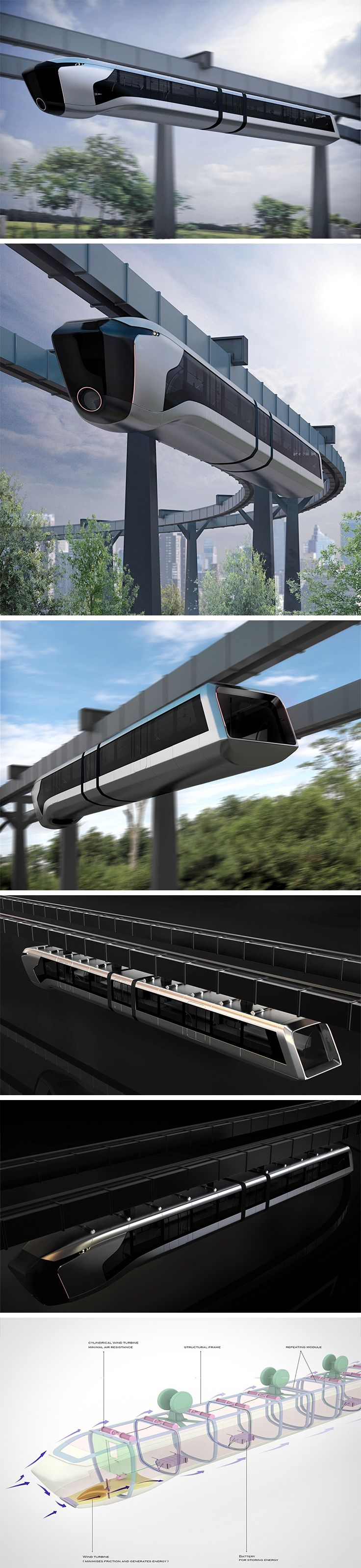 This suspended monorail vehicle concept presents additional functionality in the form of harnessed wind energy. Most noticeably, a large wind turbine at the front transfers air at the nose under the train while also pushing it upward. Other smaller turbines placed throughout the body generate supplemental energy to power internal electronics, wi-fi, power outlets for riders, as well as interior/exterior lighting.