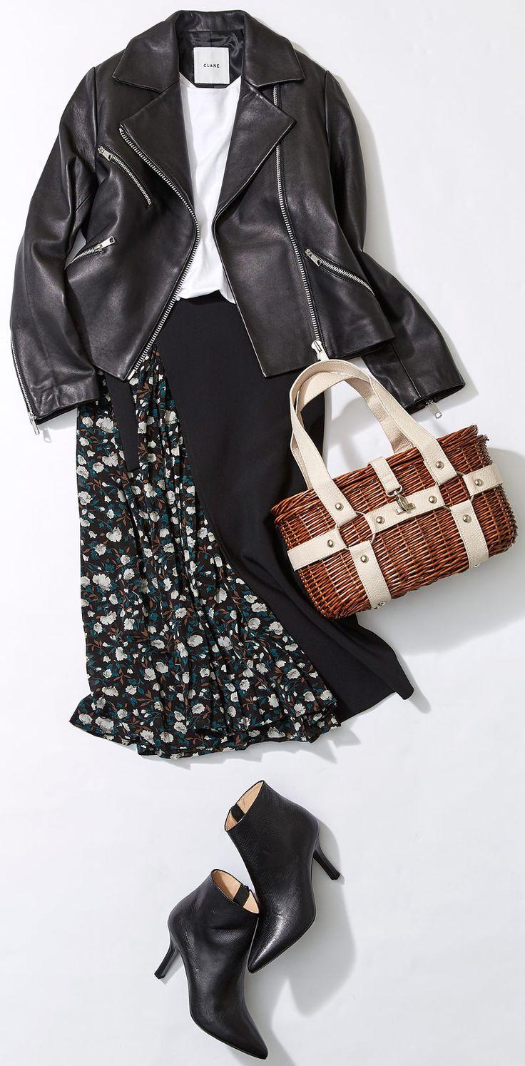 今週のレッスン:レザー使いを極める(ルミネ新宿) | LUMINE MAGAZINE leather jacket, white top, floral black skirt, black boots