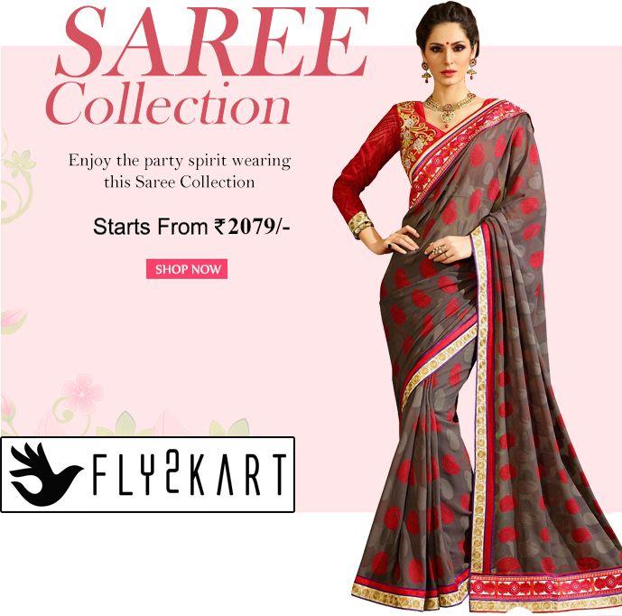BUY DESIGNER SAREES ONLINE SHOPPING- Fly2kart.com http://www.fly2kart.com/sarees-saris.html?utm_content=bufferbcd01&utm_medium=social&utm_source=pinterest.com&utm_campaign=buffer SALE UP TO 50% OFF!!! +91-8000800110 CALL OR WHATSAPP