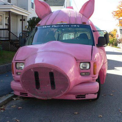 Piggy car. As other kind of animal. Twist of leopard to pig car.