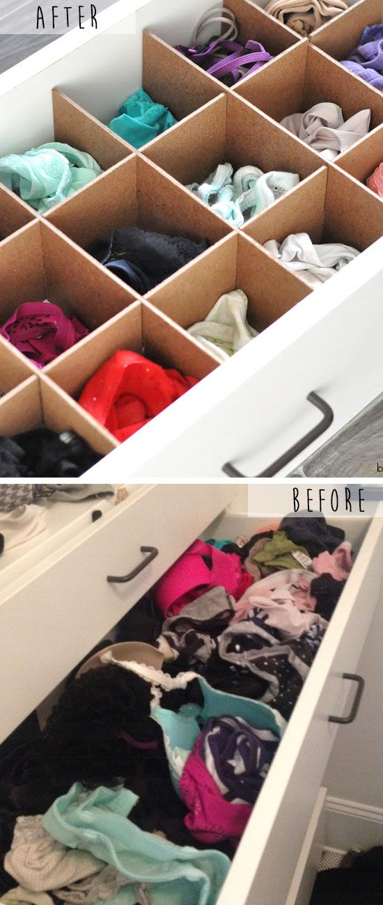 Custom drawer organizers click pic for 20 diy small apartment organization ideas for the home easy storage ideas for bedrooms dollar stores