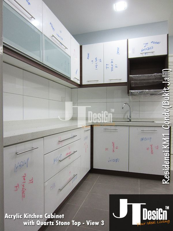 Kitchen Cabinet At Residensi Material: Door: Acrylic Doors + Frosted Glass  Doors End Panel: Melamine ABS Table Top: Quartz Stone Top Visit Our Website  For ...
