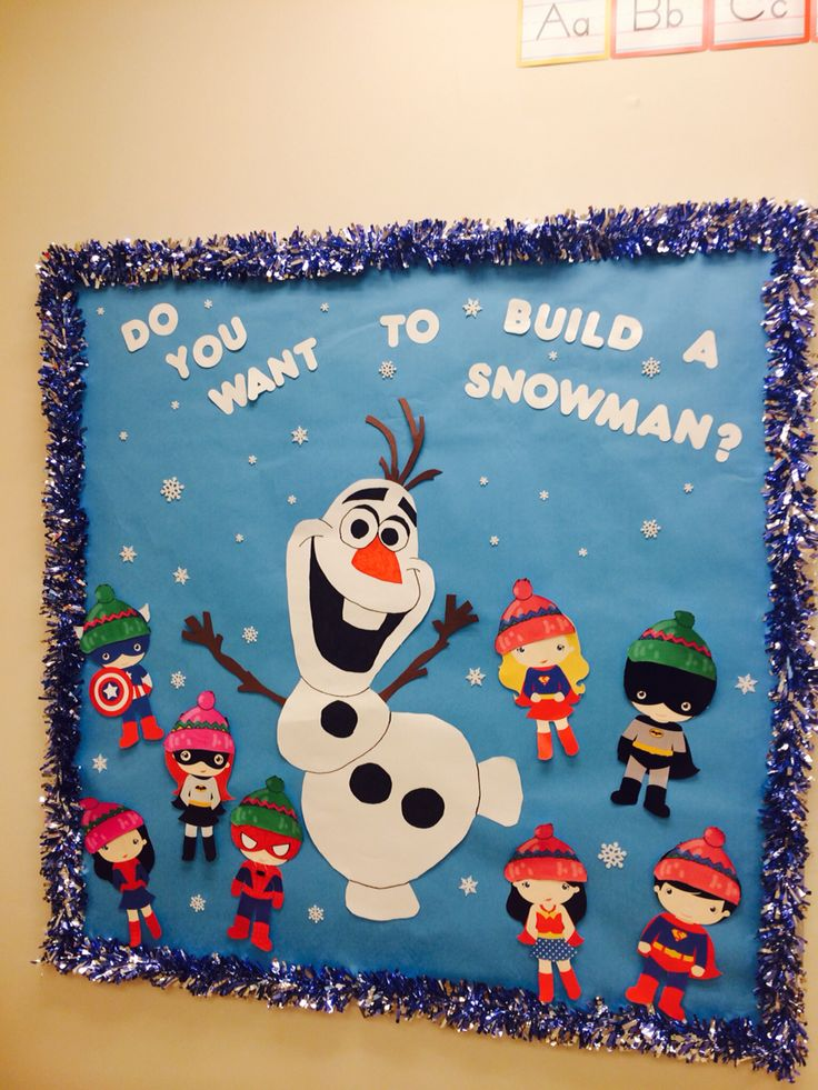 Olaf for winter bulletin board added the superheroes to follow out school theme