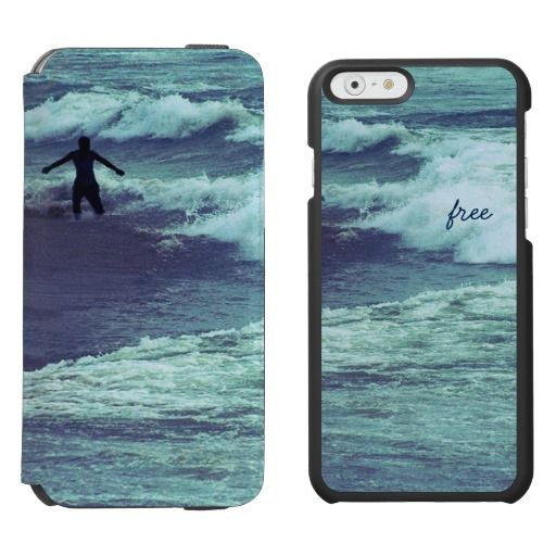 "Man figure playing with sea waves - ""Free"" / Incipio Watson™ iPhone 6, 2-in-1 Wallet Case + Interior Case! #fomadesign"