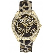 GUESS Gold Animal Print Leather Strap W0504L2