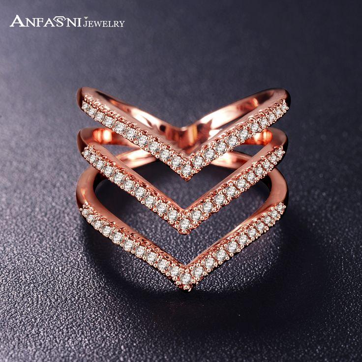 Anfasni 2016 nuove donne anelli rosa colore dorato micro pave CZ Pietra Tre V Forma Ad Anello Dei Monili di Modo per Le Donne CRI1034