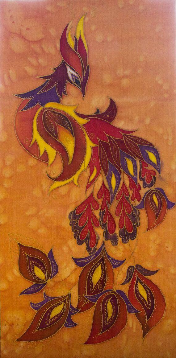 Original Batik Silk Painting Wall Hanging 15 by 30 by Katyasbatic, $180.00