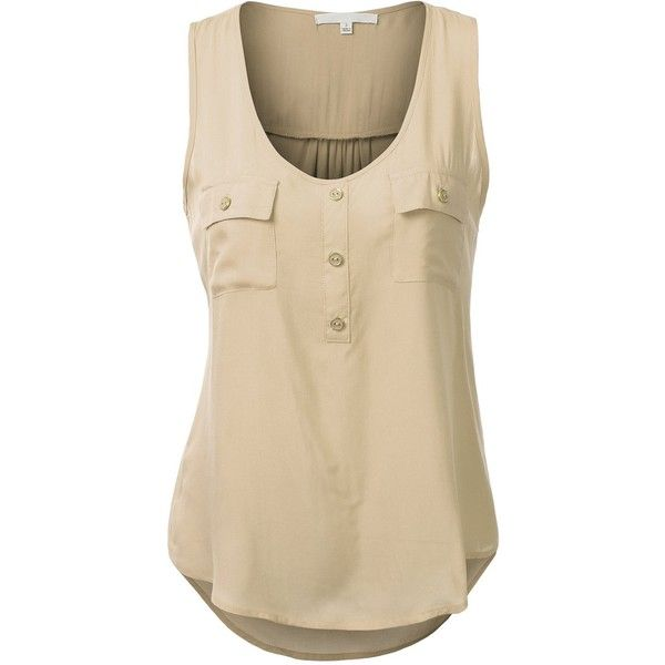 J.TOMSON Womens Sleeveless Blouse w/ Pockets ($17) ❤ liked on Polyvore featuring tops, blouses, sleeveless blouse, brown blouse, brown sleeveless top, brown tops e pocket tops