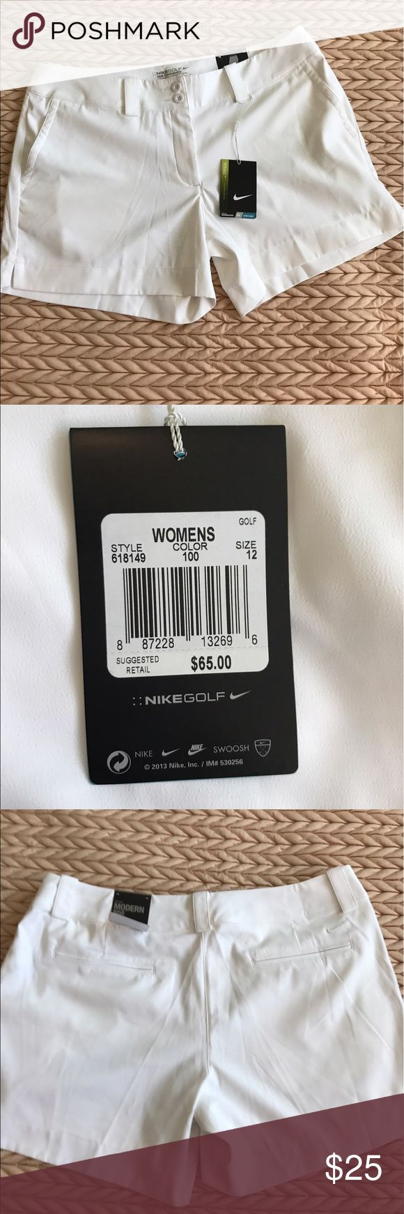 "Women's Nike Golf Shorts White Nike women's golf shorts size 12. 13 1/2"" waist to hem. Nike Shorts"