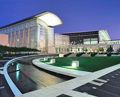Picture of McCormick Place lit up at night