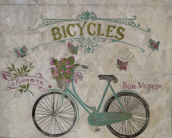 A hand painted wall panel/sign, vintage BICYCLES advertisement, painted on 100 & linen canvas with chalk paint. A unique piece of art for home,