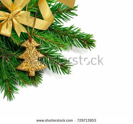 Corner Christmas fir tree branch with glitter Christmas tree ornament on a white background. Luxury Christmas decoration. Golden ribbon and bow.