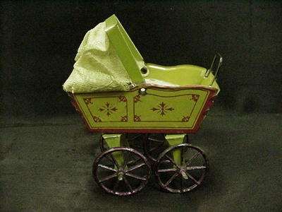 Vintage Tin Litho Toy Baby Buggy 1 12F