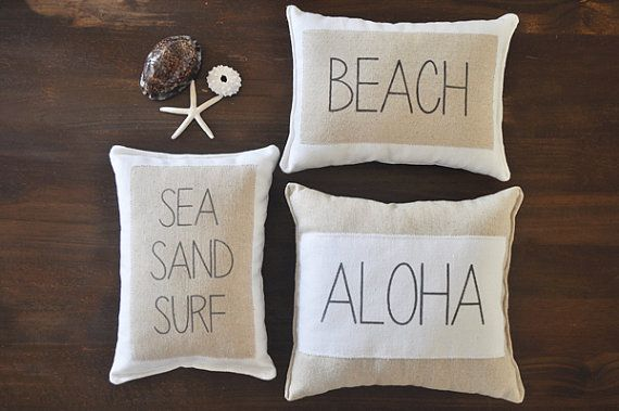 Beach Pillows - Set of 3 - beach decor - surf pillow - nautical pillows - aloha pillow - sea sand surf - decorative pillows - beach house