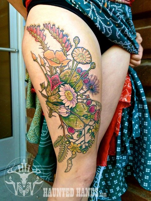 A bouquet of desert flower and plant tattoos inspired by the American southwest. Head to http://www.hauntedhands.com/tattoos/ to check out more of Lisa Cardenas's tattoo work out of Tucson, Arizona.