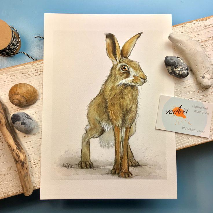 Hase, Geschenk, Wild-Tier, Fineartprint, Aquarellpapier, Wohndekoration, Kinderzimmer, Deko, A4, A3, Wandbild