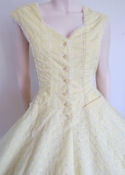 Round She Goes - Market Place - Unique Vintage 60's Lemon Yellow Picnic Dress with arrow pocket detailing