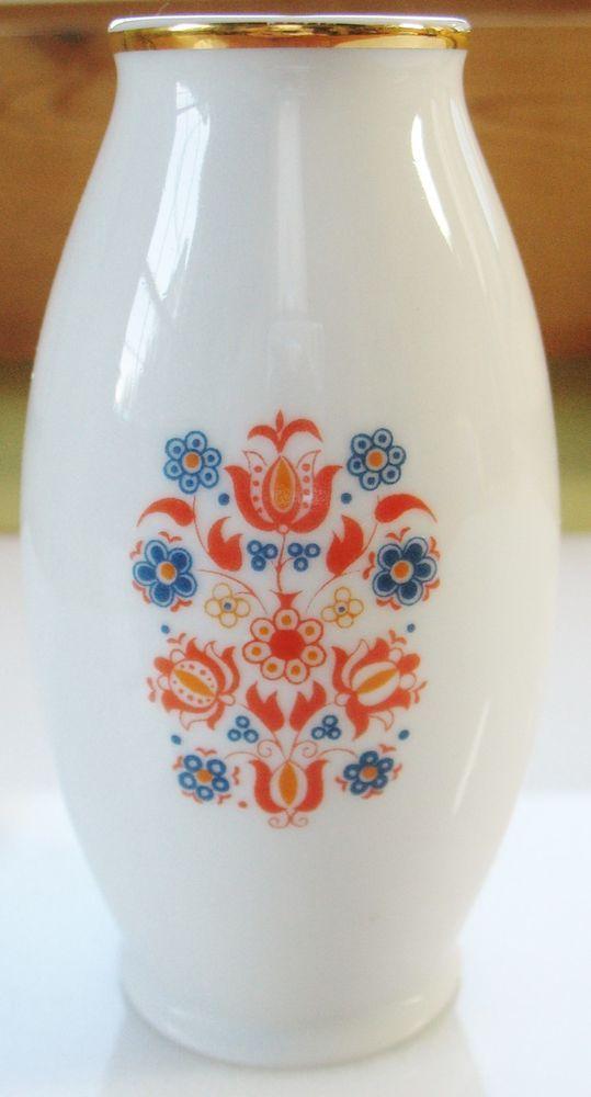 Small VTG HOLLOHAZA HUNGARY Hungarian Porcelain Bud Vase Floral Tole Folk Art