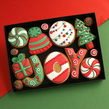 images of present cookies | Christmas JOY cookie gift box - Custom Cookie Co (UK)