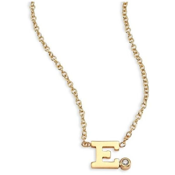 Zoe Chicco Diamond & 14K Yellow Gold Initial Pendant Necklace ($236) ❤ liked on Polyvore featuring jewelry, necklaces, e, initial pendant necklaces, 14 karat gold necklace, 14k gold pendants, gold initial necklace and letter pendant necklace