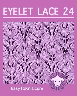 #Knit Lotus Blossom ponto, padrão de renda fácil ilhós #easytoknit #knitlace