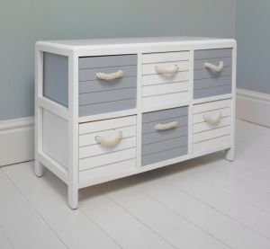 Blue and White nautical 6 drawer storage unit
