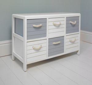 blue and white nautical 6 drawer storage unit