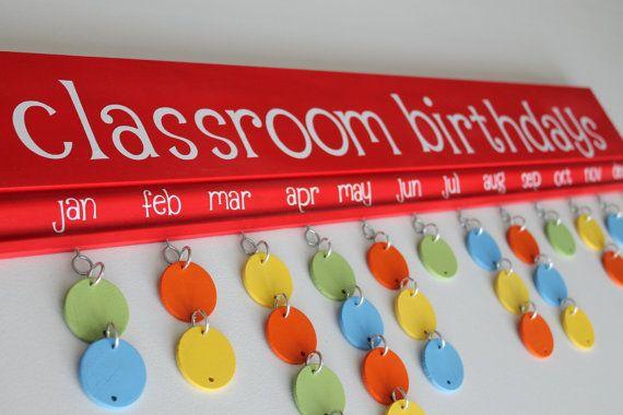 Classroom Birthdays Board by janesgirldesigns on Etsy, $65.00