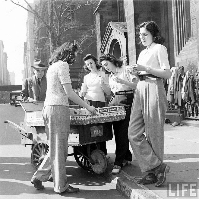 Young ladies sporting trousers, 1940. Photo by Nina Leen.