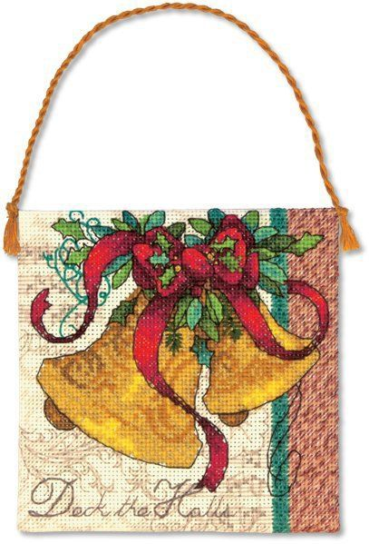 "Bells Christmas Ornament - Cross Stitch Kit $5.94 at 123Stitch.com. Finished Size: 4.25"" square without hanger (10 cm). Counted cross stitch kit contains presorted cotton thread, 18 count ivory Aida, felt, needle, and easy instructions. Also needed but not included: thick craft glue and quilt batting. Designed by Lori Siebert."