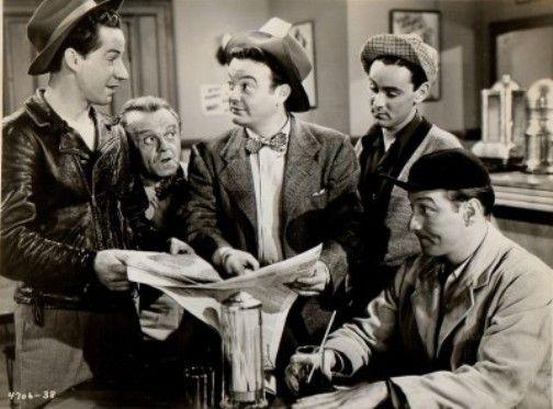 "The Bowery Boys: Leo Gorcey (""Slip""), Huntz Hall (""Sach""), Bobby Jordan (""Bobby"")"