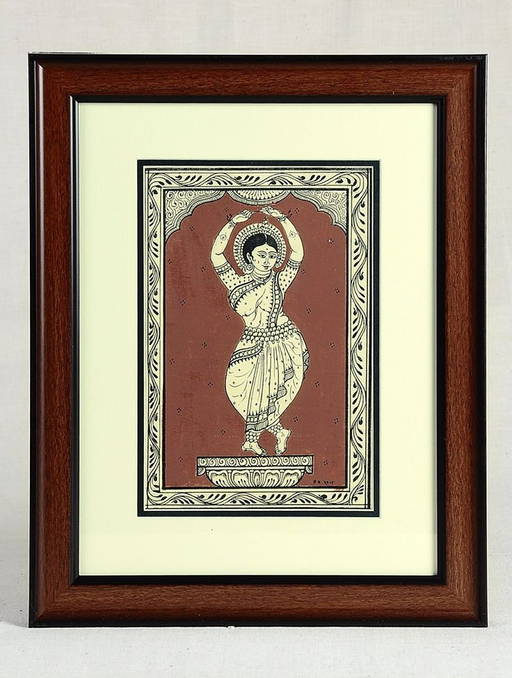 Buy Black Brown Framed Odissi Dance Mudra Pattachitra Painting on Silk 15in x 12in 0.6in Art Decorative Folk Picture Perfect Handmade Indian Traditional Paintings Online at Jaypore.com