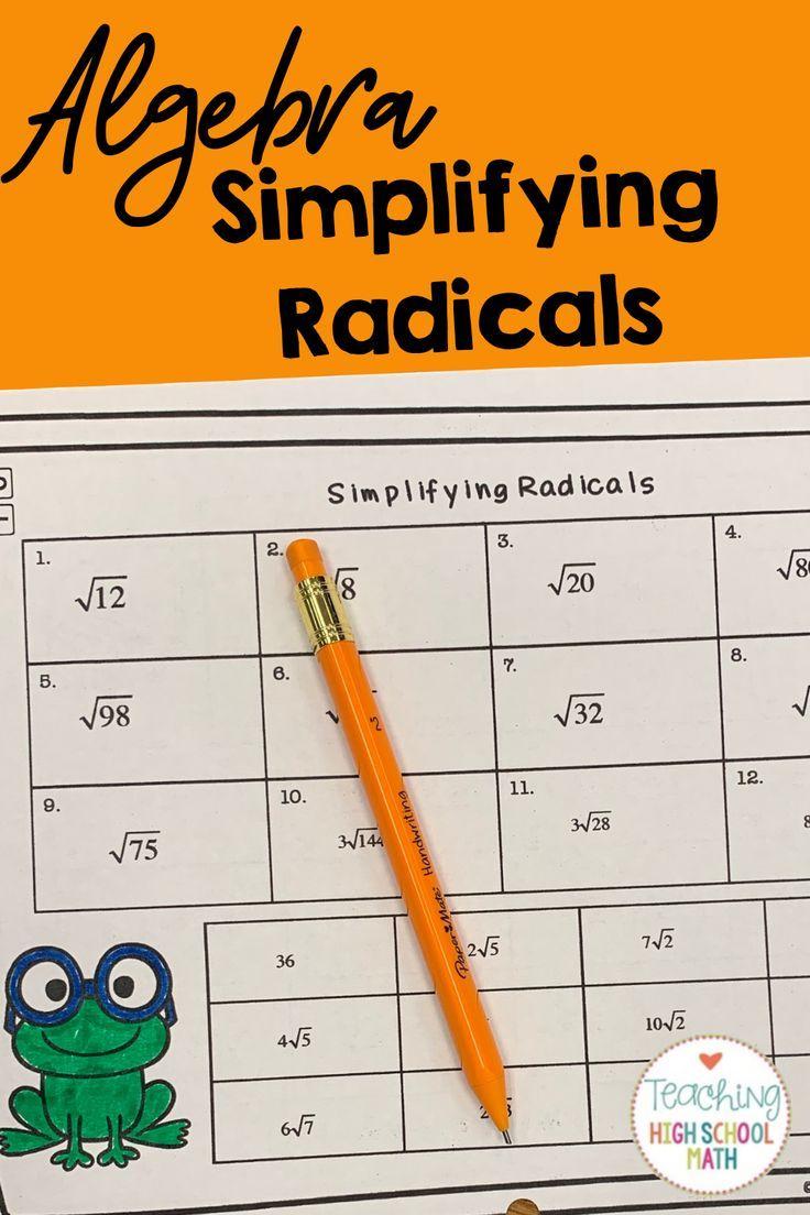 Algebra Working With Radicals Practice Simplifying Radicals Algebra Math Expressions