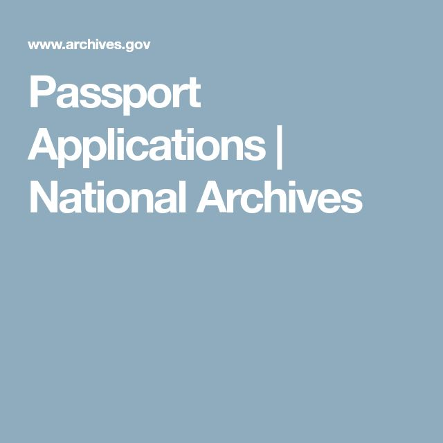 Passport Applications | National Archives