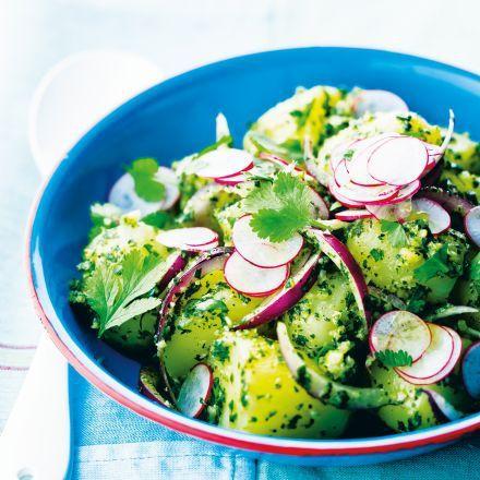 Pommes de terre nouvelles en salade au pesto de coriandre