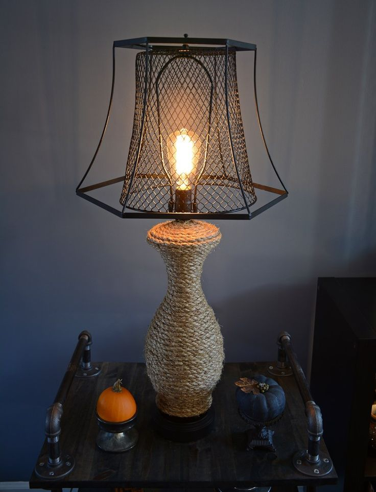 The Old Revamp | Industrial style DIY lamp makeover using Dollar Store trash can | Coastal style sisal rope wrapped table lamp | Edison bulb | Before & After | Indoor lighting | TheNavagePatch.com