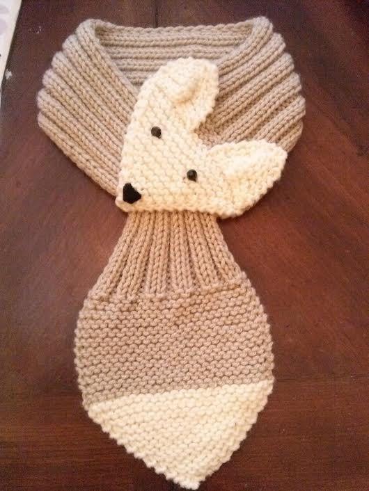 Ajustable zorro bufanda a mano de punto bufanda cuello cálido para niños y adultos.   Beige