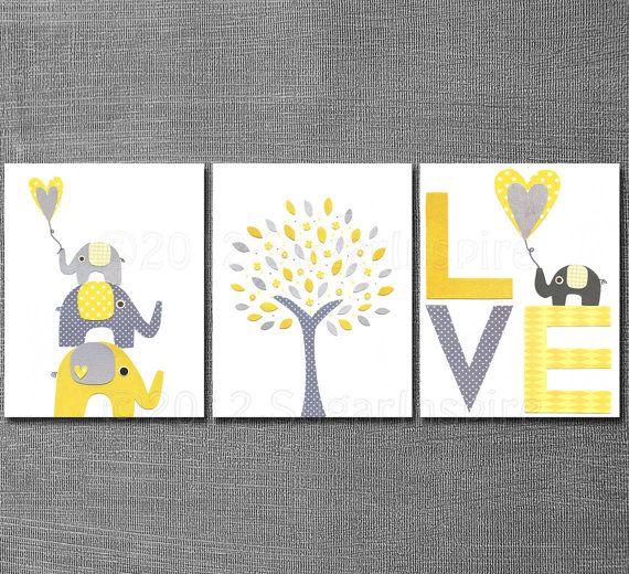 Yellow and grey Nursery Art Print Set Kids Room Decor