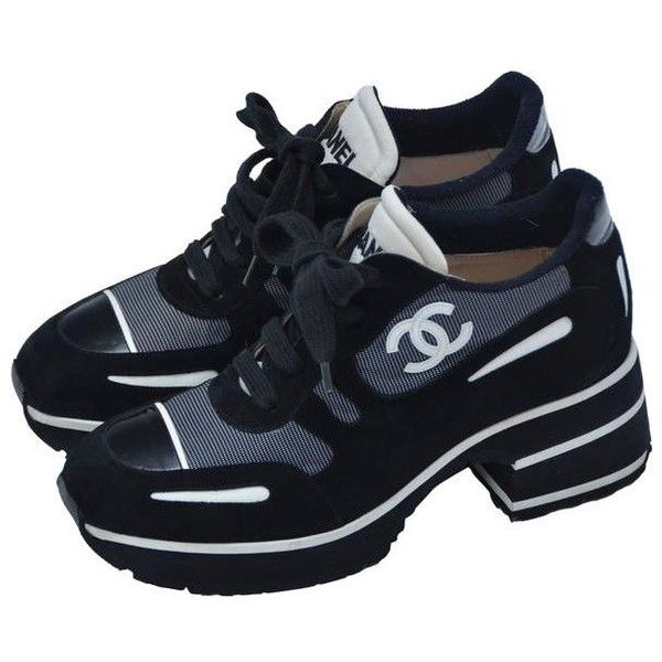 Preowned Chanel  1997 Platform Black/white Shoes Sneakers  38.5 (1,990 CAD) ❤ liked on Polyvore featuring shoes, sneakers, multiple, platform shoes, chanel, black white shoes, white and black shoes and pre owned shoes