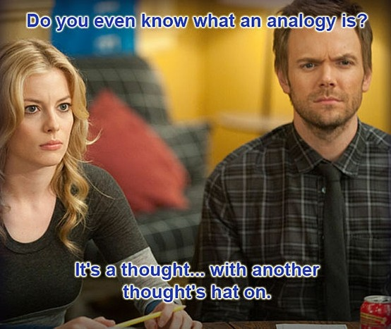 Analogy: a thought with another thought\s hat on. (Britta Perry quote)